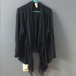 Chico's blue fringe drape cardigan size 3